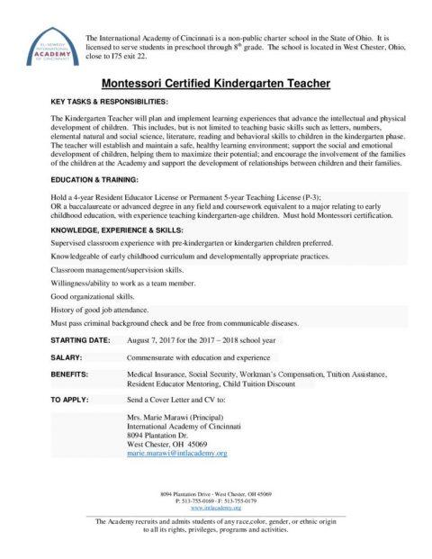 thumbnail of Emp Ad – Montessori Kg Teacher