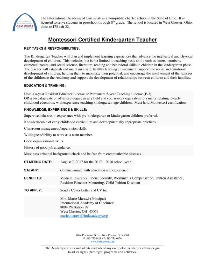 thumbnail of Emp Ad – Montessori Kg Teacher