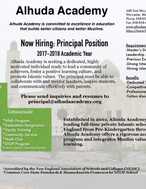thumbnail of Alhuda Academy Employment Opportunities Principal
