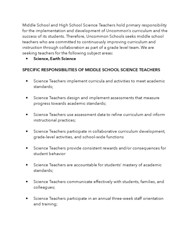 thumbnail of Middle and High School Science Job Description