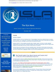 ISLA Newsletter No. 5 - November 2016