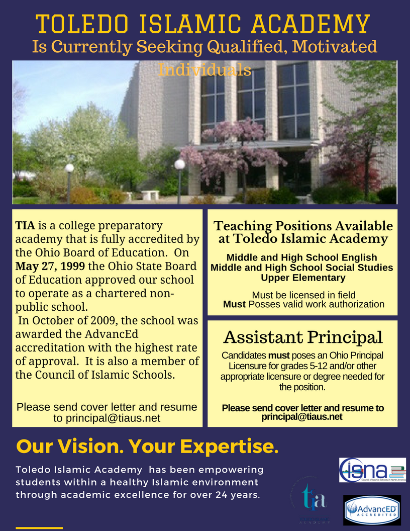 Teaching and Administrative Positions at Toledo Islamic Academy