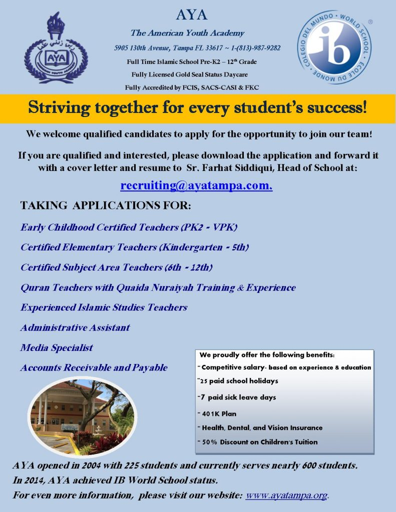 Taking applications for the 2018-2019 Academic Year