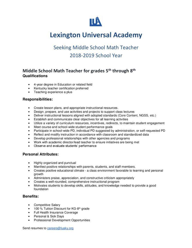 thumbnail of Math teacher posting 2018-2019- islamic school league