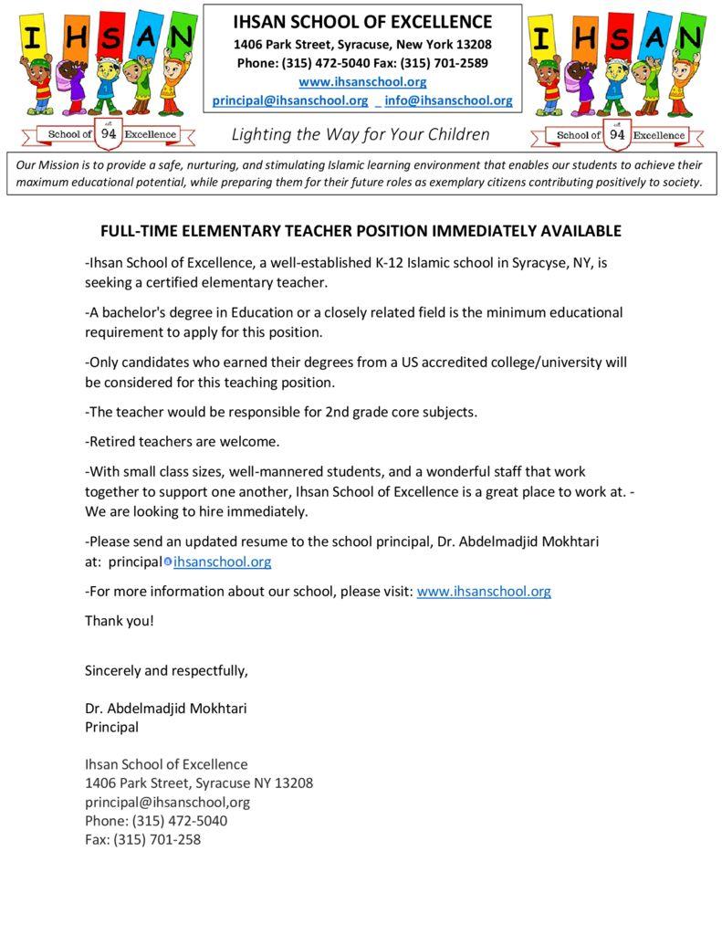 full time elementary teacher position immediately available isla