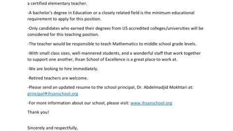 thumbnail of FULL-TIME MIDDLE SCHOOL MATH TEACHER POSITION IMMEDIATELY AVAILABLE