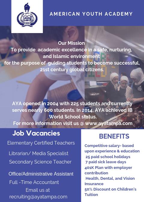 Job Vacancies at AYA