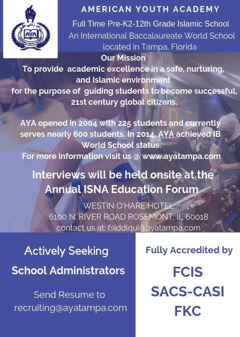 Job Openings in Islamic Schools across the US: admin