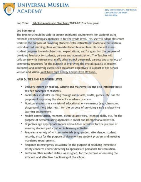 thumbnail of Job Description 1st-3rd Montessori