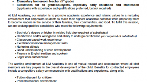 ILM Academy (TX) Job Ad