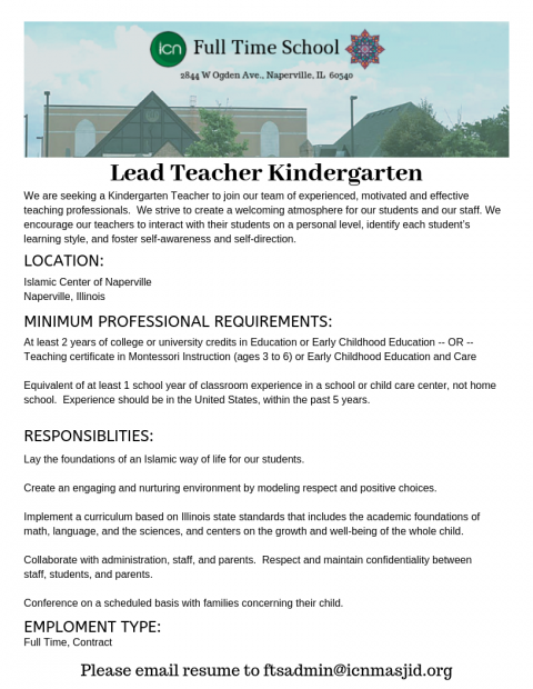 Lead Teacher KG Ad