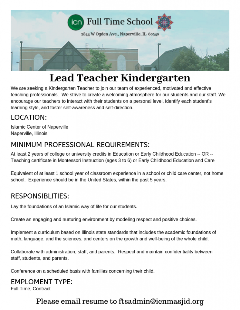 Lead Teacher KG Ad