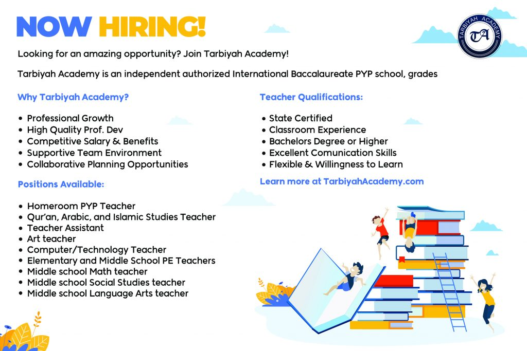 Middle School Teachers - Tarbiyah Academy MD Now Hiring!