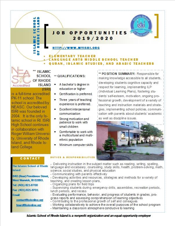 Teacher Job Ad RI