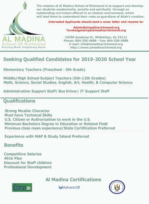 Job Openings in Islamic Schools across the US: admin
