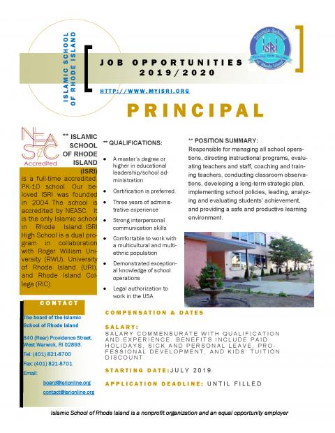 Job Ad Principal Rhode Island