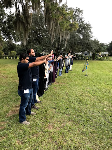 Participants focusing on target