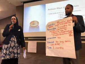 Rafeena Khan of Hifz Academy (FL) and Mohamed Hashi of Dar Al Qalam School (MN) presenting their action plans in front of the other ISLA Retreat participants.
