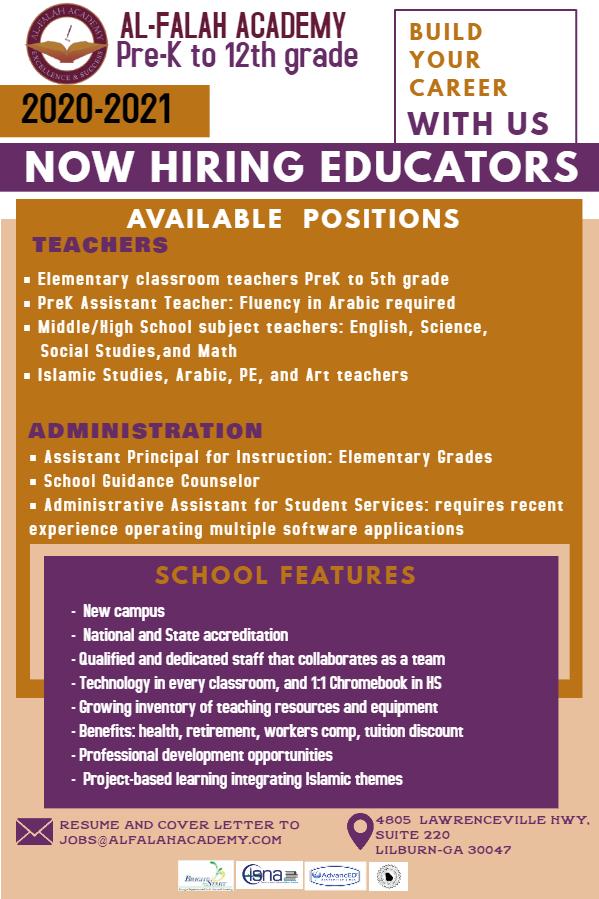 Job advertisement for Al-Falah Academy