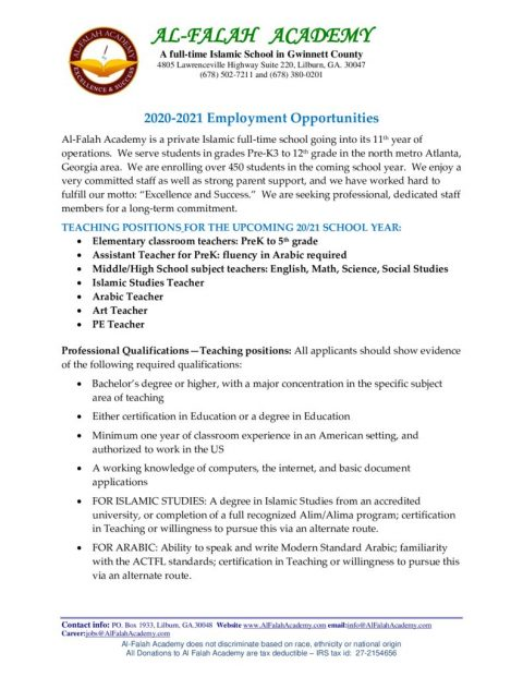 thumbnail of Employment Opportunities for 2020-2021
