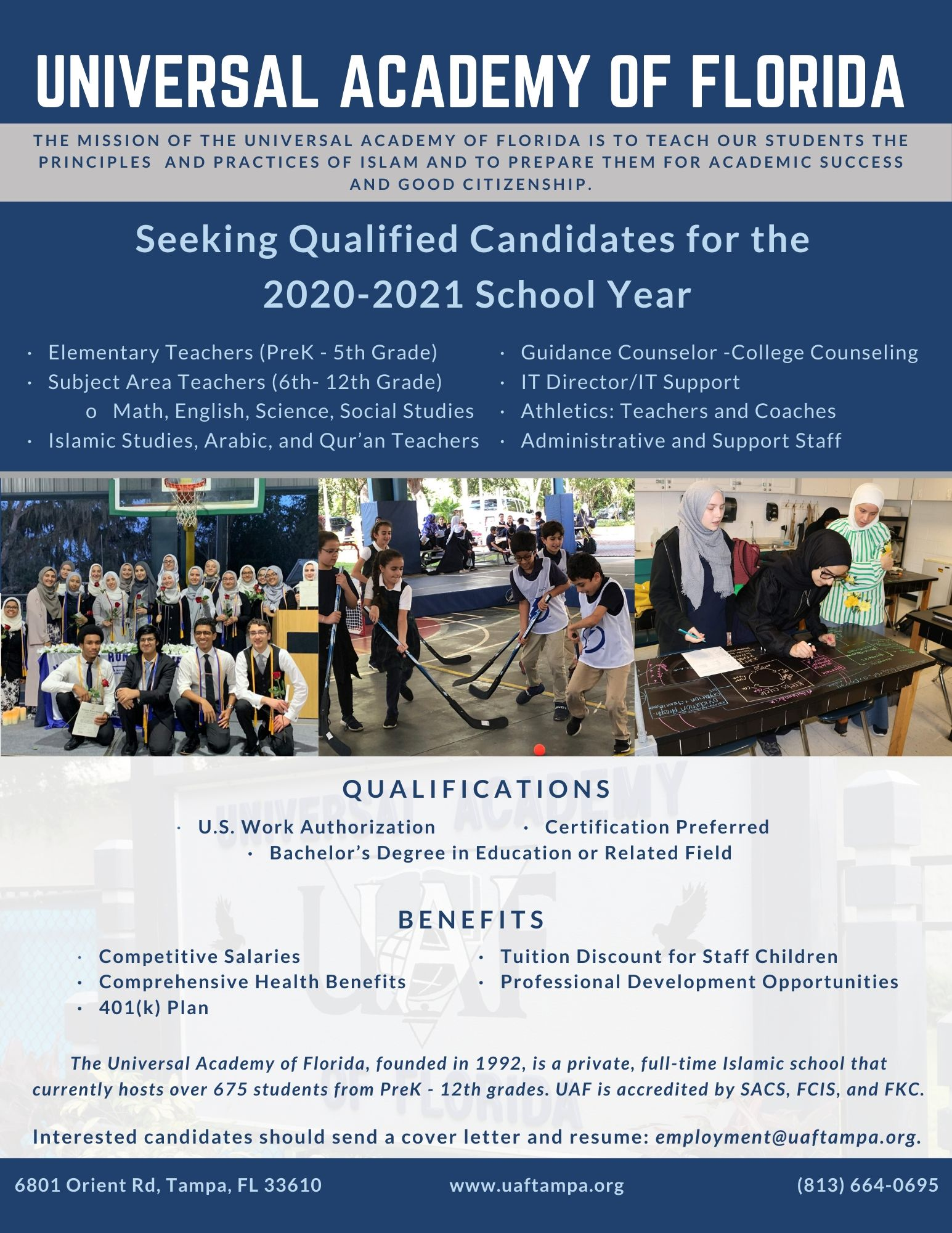 Seeking Qualified Candidates for 2020-21 School Year