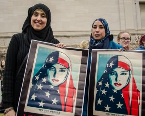 Muslim women protest