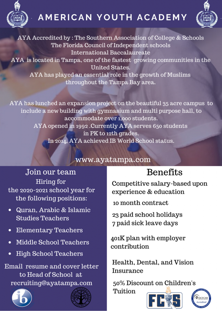 Teachers Ad for American Youth Academy