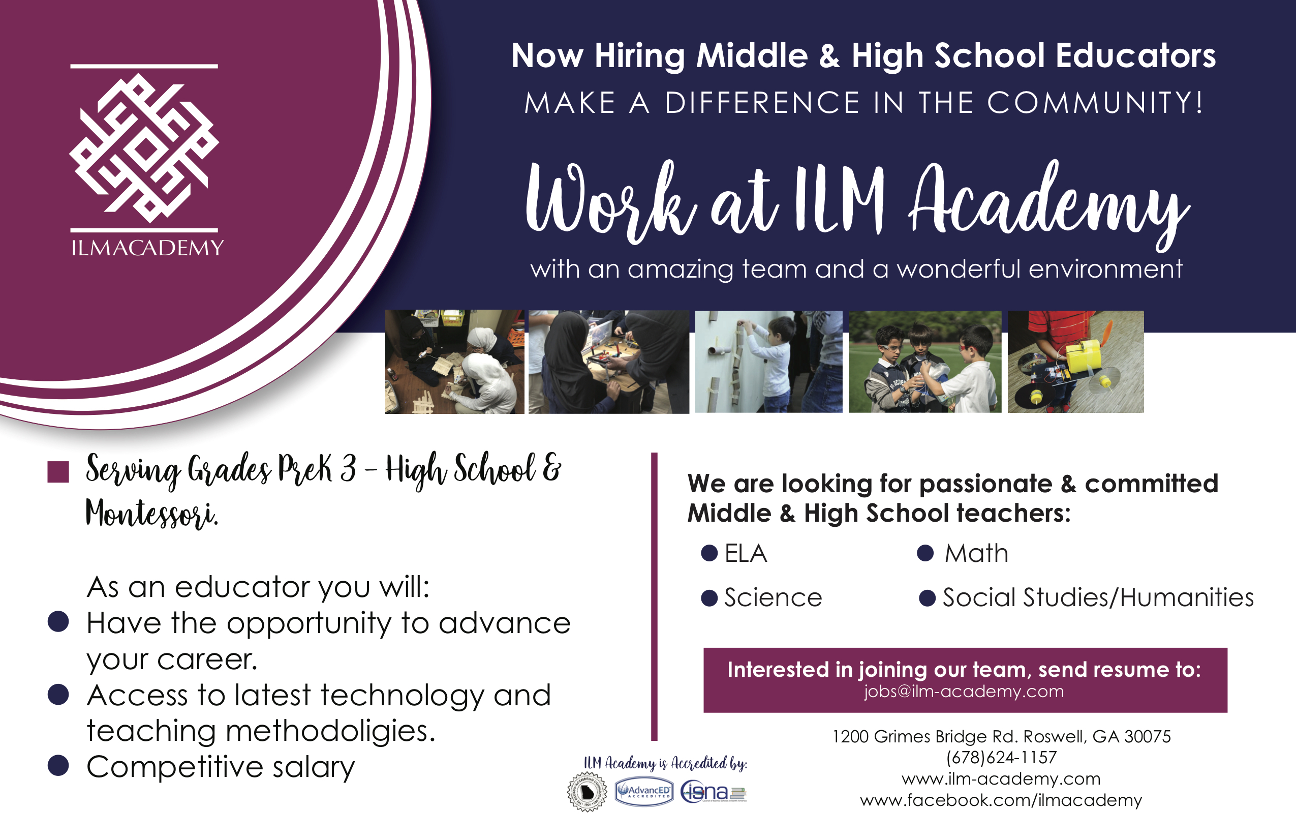 Now Hiring Ad for ILM Academy