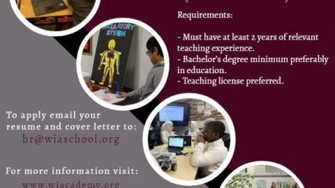 Job Ad for Washington International Academy