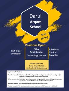 Darul Arqam School (NJ) Job Openings