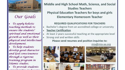 MI Islamic Academy job ad with images of their students and school