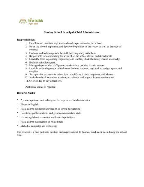 thumbnail of Sunday School Principal – Chief Administrator