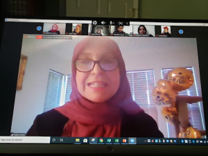 Principal Jelena Naim hosting an online Zoom meeting.