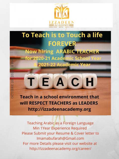 Izzadeen Academy Teacher Ad for Math