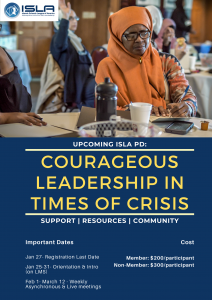 Courageous leadership flyer- image of Muslim educators in a professional development setting