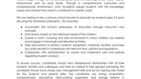 thumbnail of Primary Teacher Job Opening