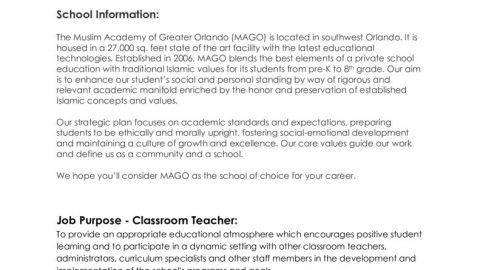 thumbnail of Job requiremnt Classroom Teacher