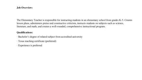 thumbnail of Elementary Teacher JD (BHA Houston)