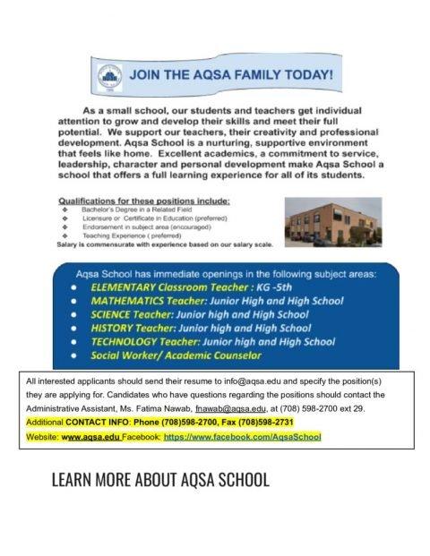 thumbnail of 2021-22 Aqsa School Open Position