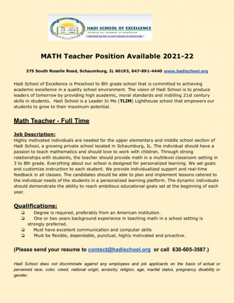 thumbnail of Math Teacher Position Available 2021-22
