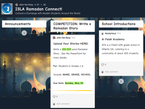 screenshot of the padlet used for Ramadan Connect