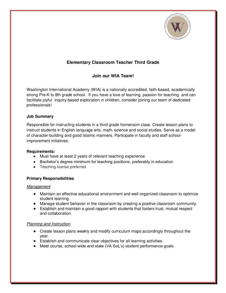 Third Grade HomeroomTeacher text of job advertisement