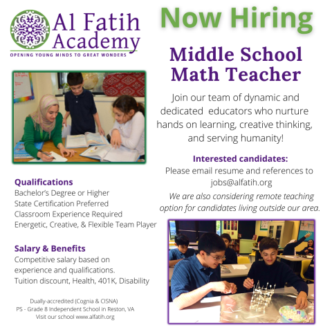 Al Fatih Academy job advertisement